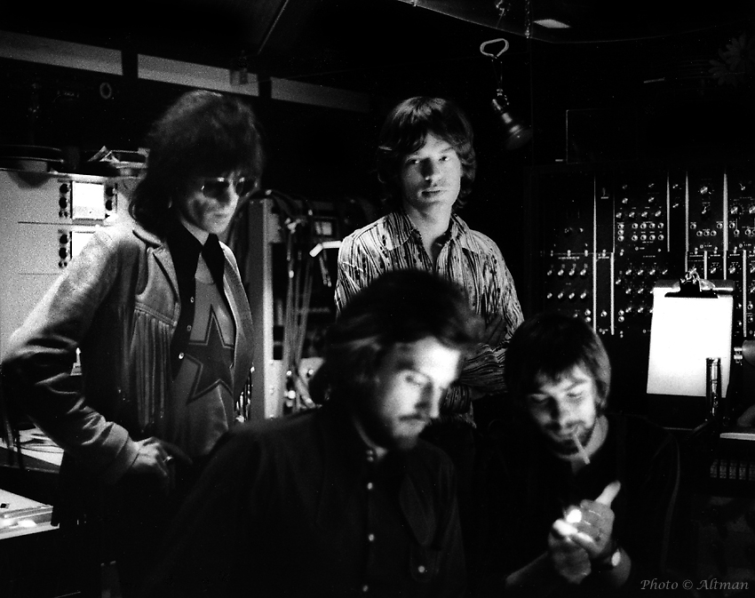 Photo: Keith Richards, Mick Jagger, producers Jimmy Miller and Glyn John