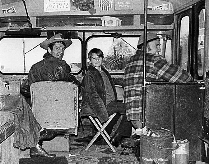 Photo- Ken Babbs and Ken Kesey ~ On the Bus